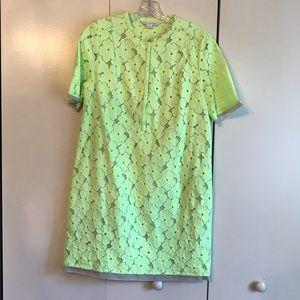 Diane von Furstenberg lace neon dress